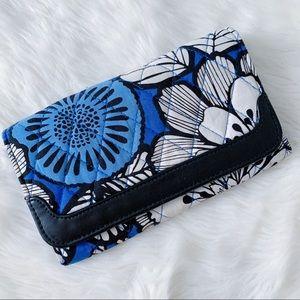 Vera Bradley Trifold Floral Wallet Blue Chevron